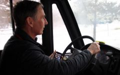 Photo Illustration by Ayelet Prottas. Nordic coach John Dyste retrieved his Class B bus drivers license to drive the Nordic team to and from practice every day. Dyste got his license because there was a shortage of bus drivers.