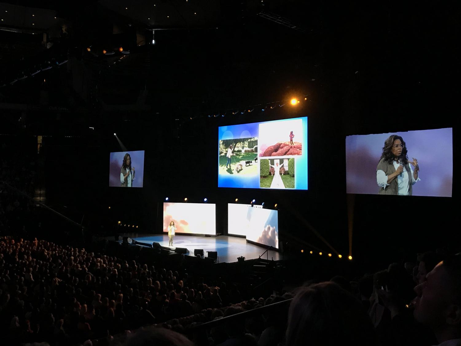 Oprah speaks to a crowd of about 15,000 people at the Xcel Energy Center. The