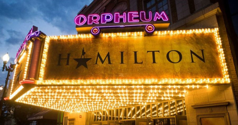 Fair use from Hennepin Theatre Trust: The musical Hamilton came to the Orpheum in the summer of 2019. As one of the Hennepin Theatre Trust theaters in Minneapolis, the Orpheum has a student and educator rush program for some of their shows.