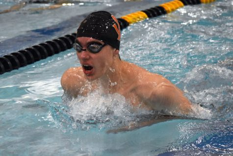 Sophomore Asher Danicic swims the 100-yard breast stroke Jan 16. Their next meet is Jan. 23 against Robbinsdale Cooper at Plymouth Middle School.