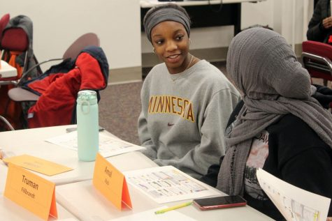 Senior Jordyn Turek and sophomore Amal Abdi attend the District Student Advisory Council held Jan. 16.
