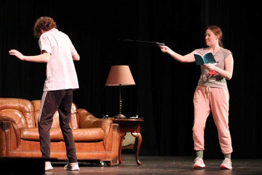 Freshman Wes Anderson and sophomore Caroline Butler practice a scene to prep for the one-act. The one-act will be performed at 7 p.m. Jan. 17-18 as well as Jan. 19 at 2 p.m. at the High School Auditorium.
