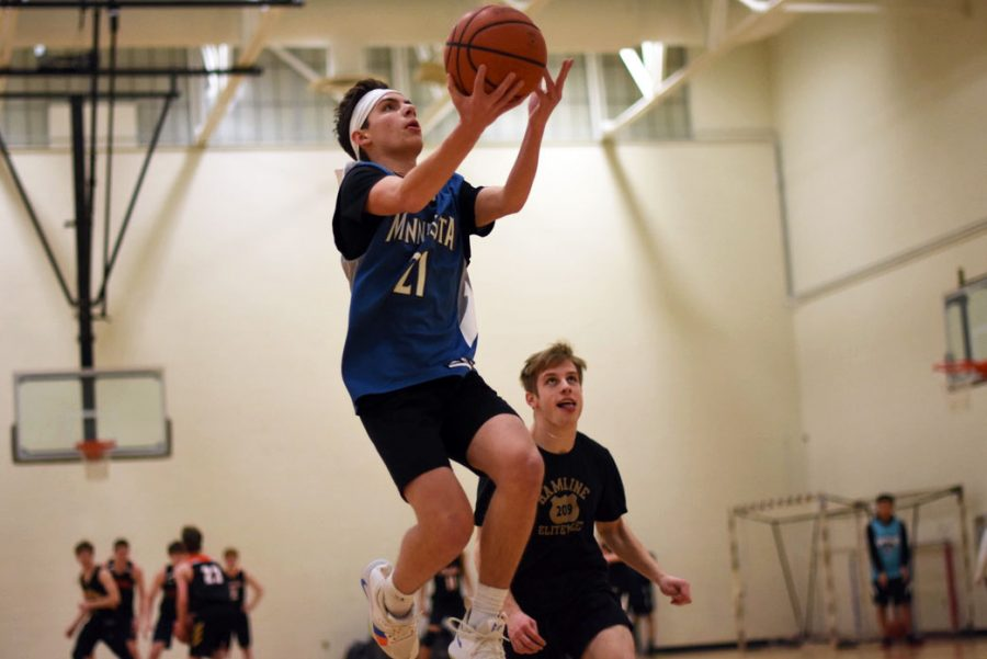 Senior Sammy Ruff goes up for a layup during the 3 vs. 3 basketball tournament Feb. 19. Ruff played for team Squirrels, which lost in the finals to team Trio Trouble.