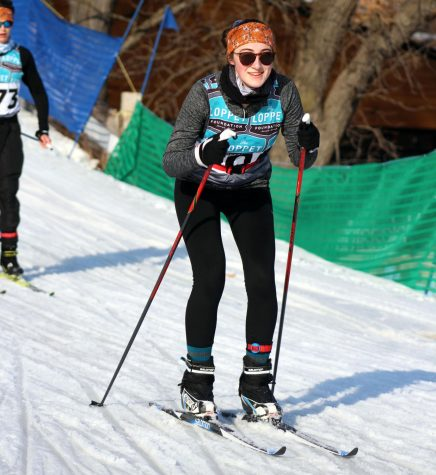 Junior Olivia Etz skis downhill Feb. 29. Etz participated in the 24 hour ski relay race Feb. 28-29 at Theodore Wirth Park.