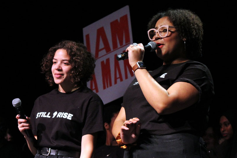 Seniors Zoe Younger and Amaya Fokuo, the organizers of the event, thank the audience for attending the sixth hour show. The performance consisted of a rendition of the Black National Anthem, a video with interviews from both students and teachers, as well as student presentations.
