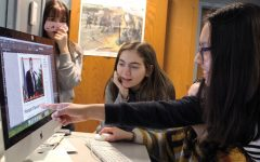 Sophomore Ayelet Prottas and junior Maria Perez Barriga edit a page on Echo's late night Feb. 25. Park recently won the First Amendment Press Freedom Award.