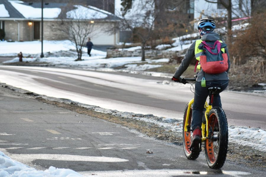 A cyclist uses a bike path along Cedar Lake Parkway Feb. 24. City Council will vote on the preliminary layout for the Dakota bikeway project Dec. 2.