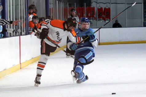 Senior Bobby Doss shoves Bloomington Jefferson's junior Pierce Thomka while reaching for the puck. Park finished the regular season with an overall record of 16-9-0.