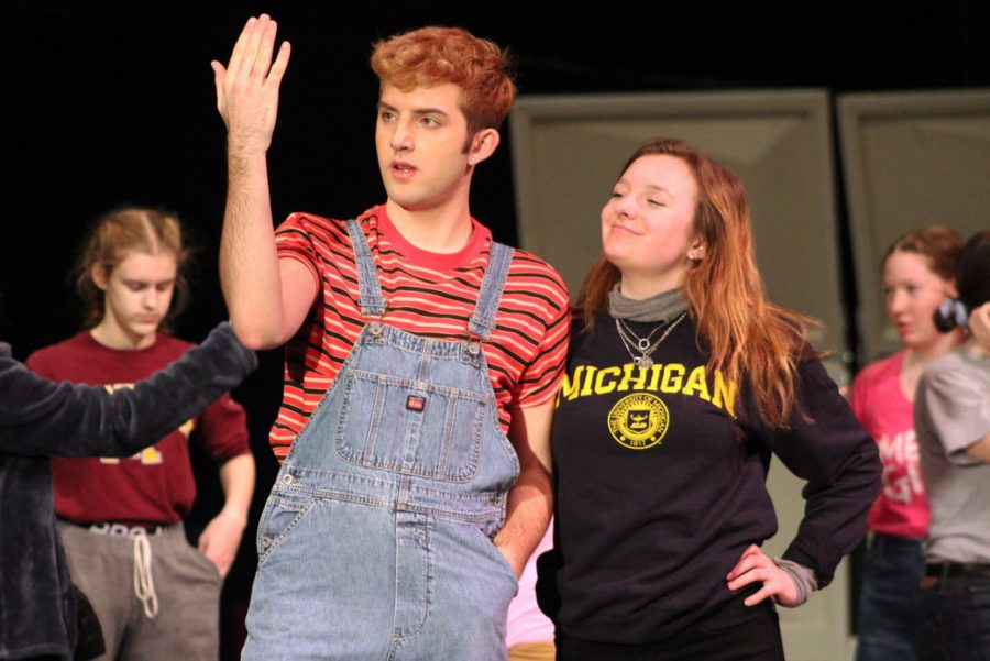Senior Isaac Wahl and Junior Casey Hunter rehearse a scene from the musical. Chior is performing Hairspray Feb. 21, 22, and 23.