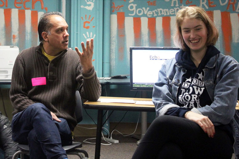 Star Tribune entertainment writer Neal Justin talks to students in room C275. Scholastic Journalism week is from Feb. 24–28.