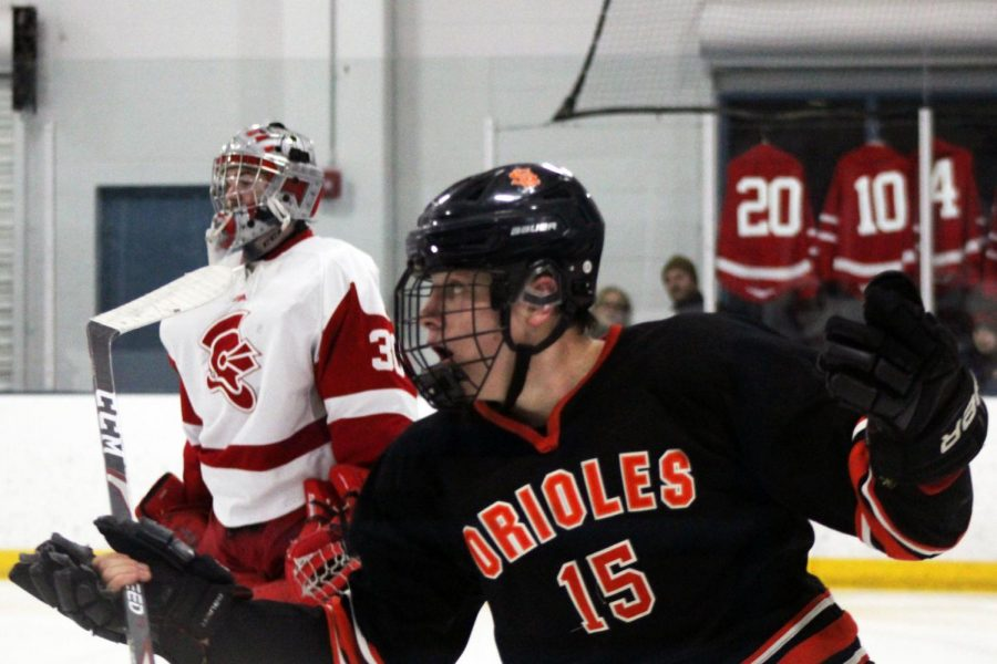 Junior McCabe Dvorak throws his arms up in frustration after a call by the referee. So far in the 2019-2020 season, Dvorak has scored 27 goals.