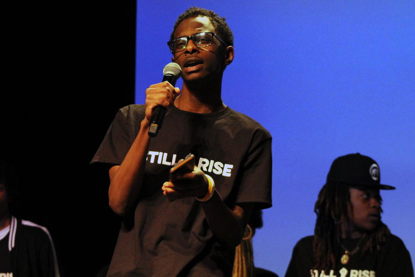 Senior Neb Bekele recites his spoken word performance, which incorporated the show's them