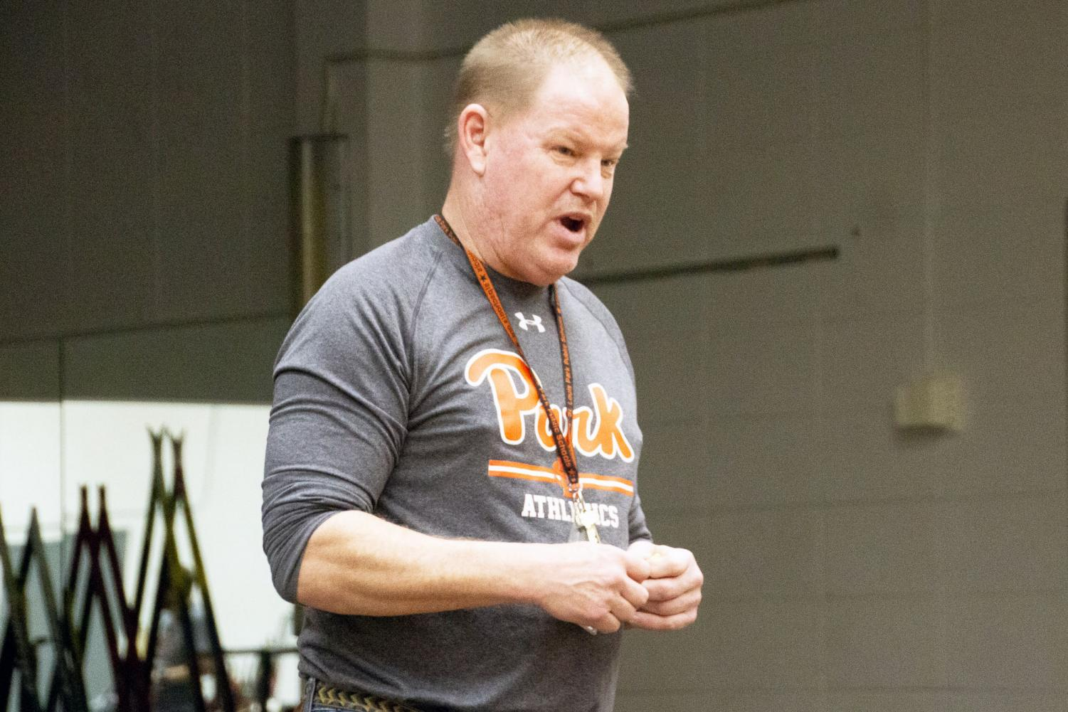 Nordic coach Doug Peterson speaks to skiers during a meeting Jan. 31. Peterson has been coaching for about 25 years.