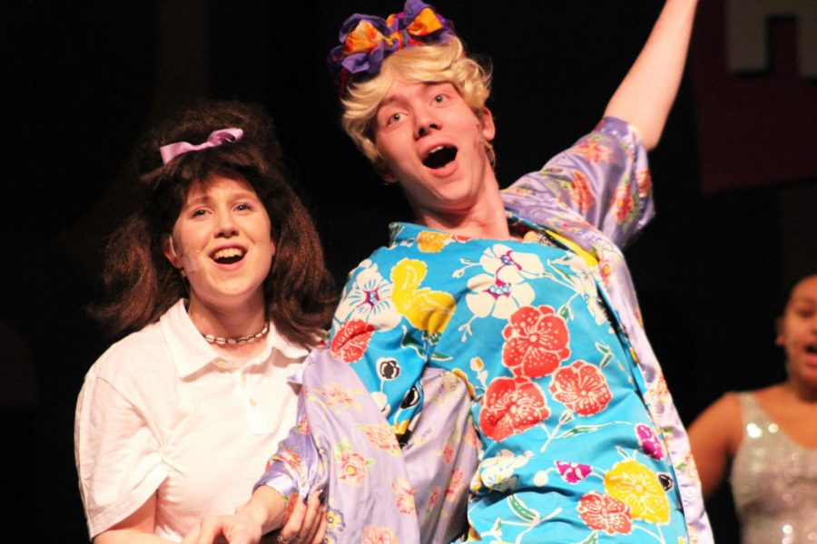 Junior Bynn Langaard and Senior Sam Sietsema playing Tracy Turnblad and Edna Turnblad sing to the song Welcome to the 60s.