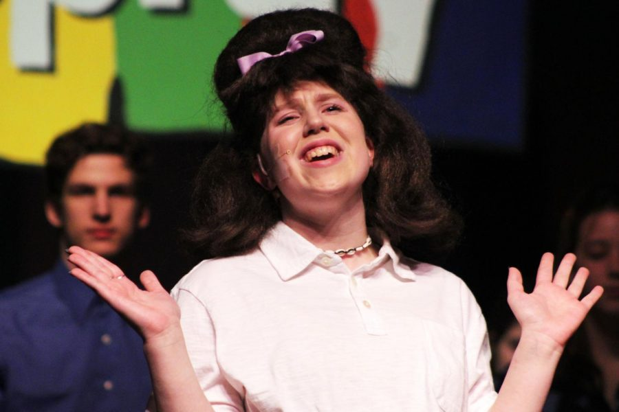Junior Bynn Langaard plays sings as character Tracy Turnblad form the brodway musical Hairspray.