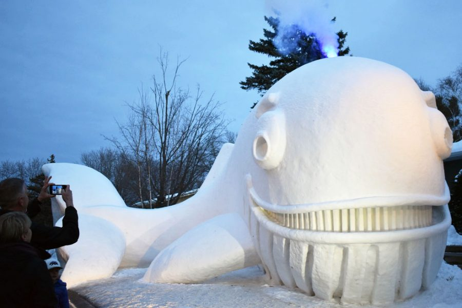 Brothers make massive snow sculptures