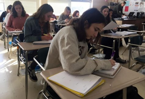 Juniors Raina Kronfeld and Sophie Yakes do their math work during class. The math department announced a new policy with the ability to increase students' grades in their current math class if they meet or exceed the standards of the MCA.