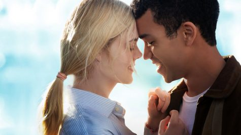 Fair use from Netflix. Violet Markey (Elle Fanning) and Theodore Finch (Justice Smith) embrace each other.