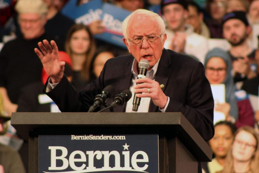 Vermont+Sen.+Bernie+Sanders+addresses+the+crowd+at+the+March+2+rally+at+the+St.+Paul+RiverCentre.+Sanders+received+26+delegates+from+the+Minnesota+primaries%2C+according+to+The+Associated+Press.