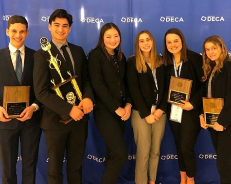 Used with permission from Sophia Ross. Juniors Koby Davis, Adin Zweigbaum, Emma Amon and seniors Sydney Ring, Sarah McCallon and Lola Ruff attend the DECA State competition March 3, 2020. They competed against 2,200 people for their placements in their individual events. The next competition will be the International Career Development Conference held in Nashville, Tenn.
