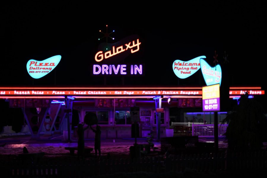 The Galaxy Drive In lights illuminated at night. The last time the restaurant was open was 2015.