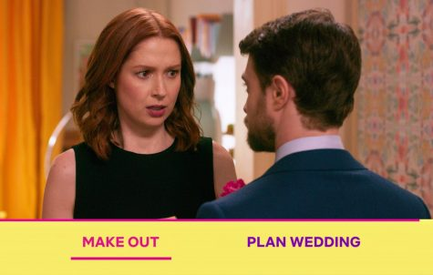 Fair use from Netflix. Kimmy Schmidt (Ellie Kemper) talks to Prince Fredrick (Daniel Radcliffe) about what they should do. The choices are shown on the bottom for viewers to decide what happens next.
