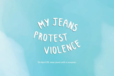 "Fair use from the Denim Day website. Pictured is the quote ""My jeans protest violence,"" which spreads awareness on sexual violence by asking people to wear denim. The purpose of wearing denim is to show solidarity with victims of sexual violence."