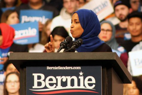 Ilhan Omar speaks to the crowd at a Bernie Sanders Rally March 2. Omar will have opponents in both the primary and general elections this coming November.