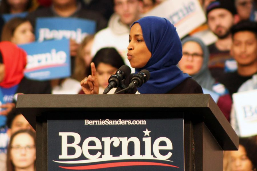Ilhan+Omar+speaks+to+the+crowd+at+a+Bernie+Sanders+Rally+March+2.+Omar+will+have+opponents+in+both+the+primary+and+general+elections+this+coming+November.