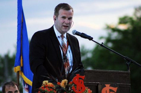 Principal Scott Meyers speaks at the Graduation ceremony for the class of 2019 June 6. Meyers announced his resignation effective June 30 and St. Louis Park Public Schools is currently searching for an interim principal.