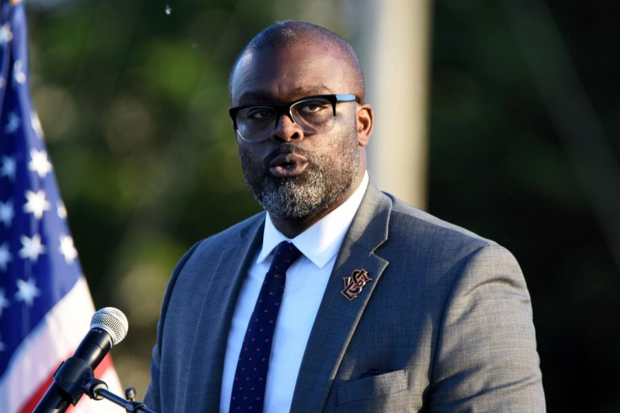 Superintendent Astein Osei speaks June 6 at Park's 2019 Graduation. Osei will begin leading the search for a new principal after applications are due Feb. 24.
