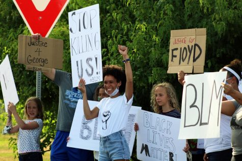 A group of young protesters protest racial injustice and police brutality at a family-friendly protest June 25. Protesters gathered from 5-6:30 p.m. at the France Ave. bridge over Hwy 62.