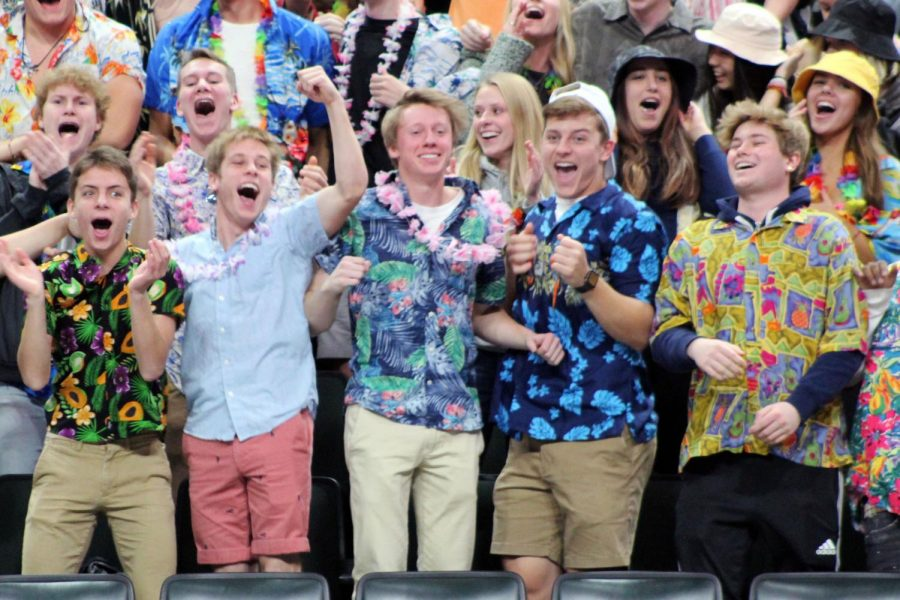 Seniors Aaron Ellingson, Erik Piehl, Jacob Brown and Sammy Ruff cheer on Park. The volleyball State tournament took place Nov. 7-9 at the Xcel Energy Center.