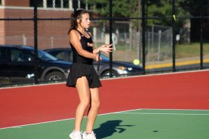 Senior Abby Meyer competes in a tennis match Sept. 22, 2019. Tennis, cross country, soccer and girls' swimming will begin modified seasons Aug. 17.