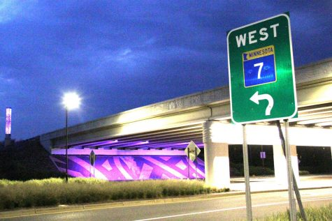 The Louisiana Avenue and Highway 7 bridge lift in purple Aug. 26. The city of St. Louis Park decided to change the color of the lights in recognition of Women's Equality Day.