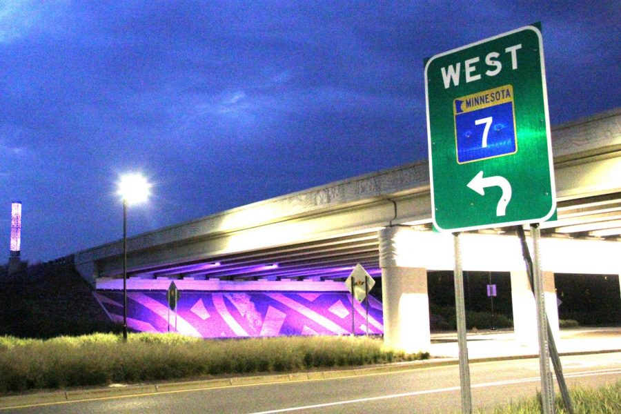 The+Louisiana+Avenue+and+Highway+7+bridge+lift+in+purple+Aug.+26.+The+city+of+St.+Louis+Park+decided+to+change+the+color+of+the+lights+in+recognition+of+Women%27s+Equality+Day.+