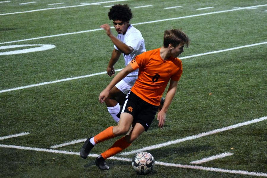 Sophomore Tommy Kniser dribbles past a Chaska defender. Park has a current record of 5-2-1.