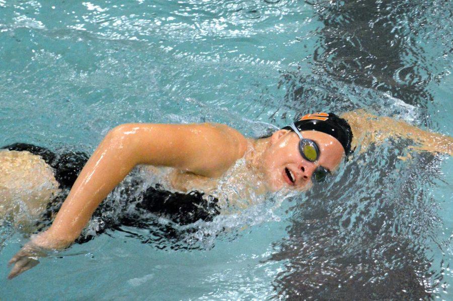 Freshman Stephanie Stone competes in her race Sept. 24. Benilde beat Park girls swimming 51-37.
