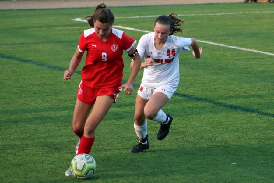 Freshman Hannah Wilsey goes after the ball during a match Sept. 24 against Benilde-St. Margaret's. Park lost to Benilde 0-7.