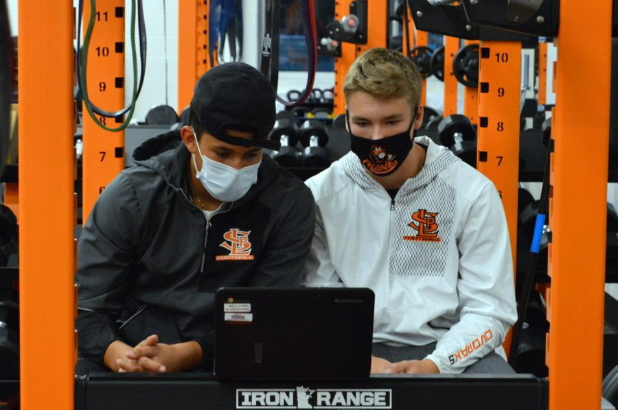 Juniors Will Dvorak and Christian Arteaga participate in the KARE-11 News Sunrise Spotlight Virtual Pep Rally Sept. 18. Students celebrated Park over zoom and talked about their hopes to return to in-person school this fall.