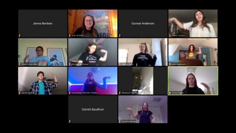 "Park students rehearse for the fall play over zoom during a virtual rehearsal on Oct. 5. ""Vintage Hitchcock: A Live Radio Show"" will likely be available to watch late November."