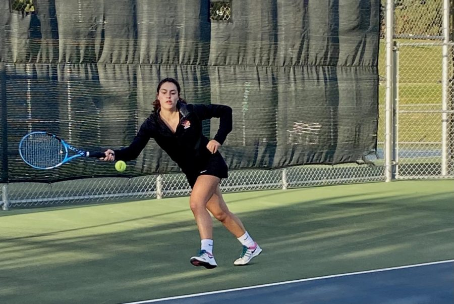 Junior Raquel Schlichting makes an attempt to return the ball from opponent Oct. 1. Park will now prepare for its first Sections meet Oct. 6th