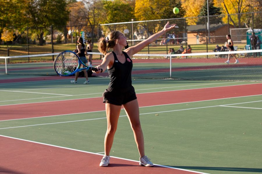 Junior Ava Jacobson serves the ball to her opponent Oct. 13. Park beat Minneapolis Southwest 5-2 in its second to last game of the season.