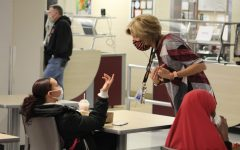 Interim Principal Wendy Loberg talks to a student during lunch Oct. 26. Park began a hybrid model at 25% capacity Oct. 26.