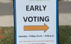 An early voting sign is placed outside the St. Louis Park City Hall. Voters are able to cast their ballot here among many other places before election day Nov. 3.