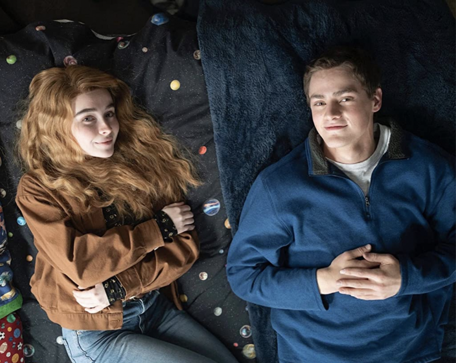 Fair use from Disney Plus. As Zach Sobiech (Fin Argus) fights his cancer, his best friend Sammy Brown (Sabrina Carpenter) and him write music and produce videos together. Throughout the film, their music goes viral.