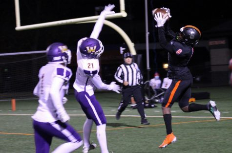 Senior Derric Standifer reaches for the ball to complete a pass in the endzone for a touchdown Oct. 16. Park lost to Waconia 49-14.