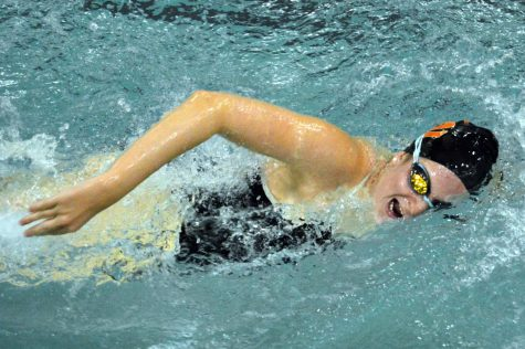 Senior captain Greta Kulevsky swim freestyle during a meet Oct. 8. Kulevsky has been swimming for Park for 5 years.
