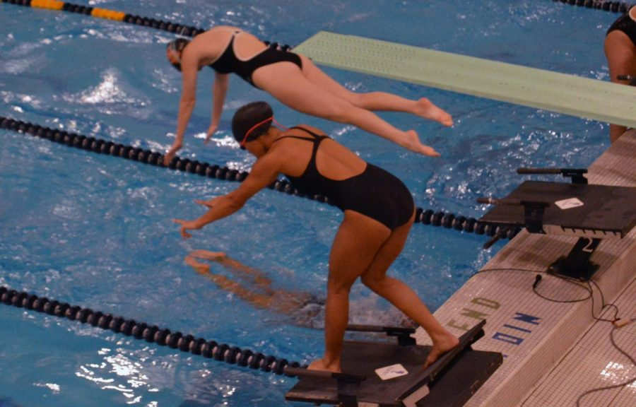 Junior Freya Wade prepares to dive into the water during her race Oct. 1. This meet was Parks first away meet of the season.