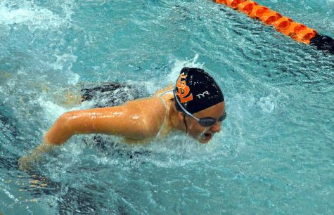 Freshman Stephanie Stone swims the butterfly during her meet Oct. 8. The final meet for the JV girls was on Oct. 13.